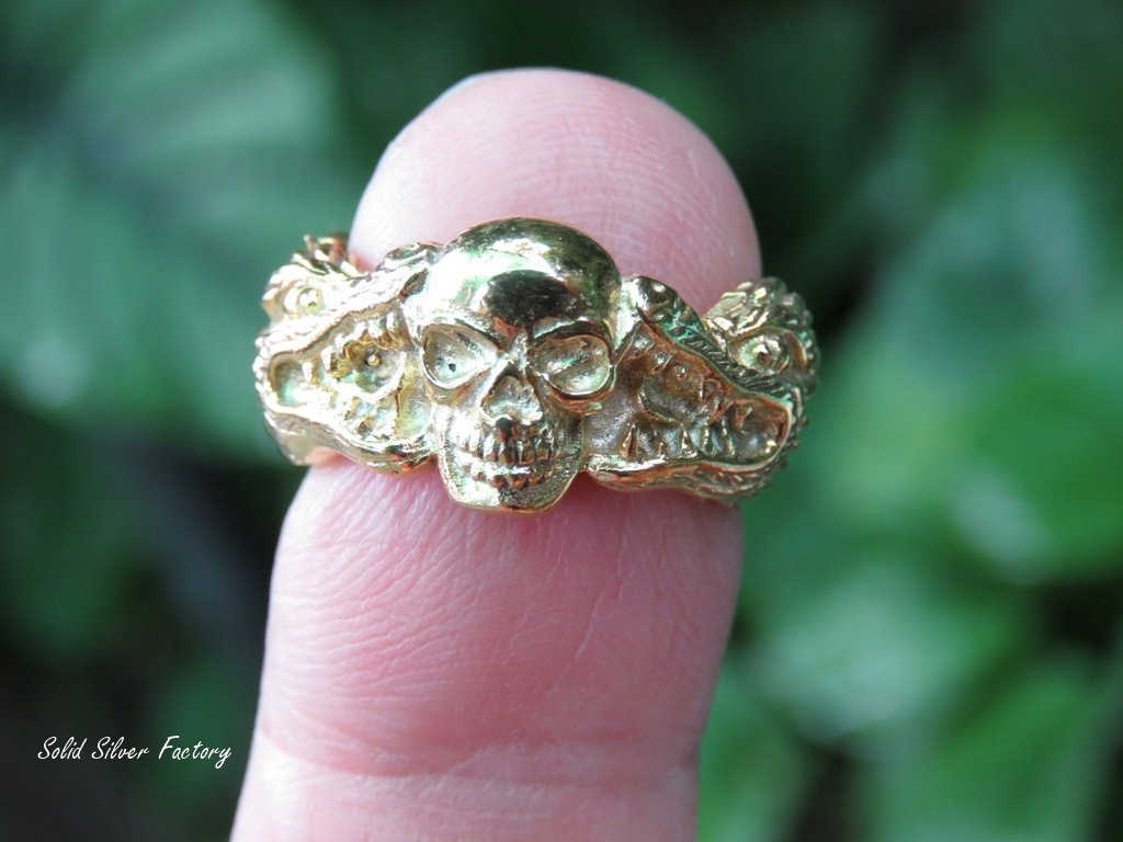 18k Gold Plated Skull and Dragon Ring GPR-145