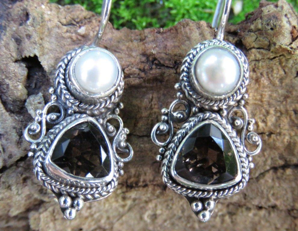 Smokey Quartz and Pearl Silver Earrings ER-870