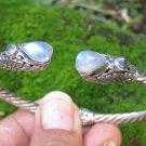 925 Silver and Rainbow Moonstone Bangle SBB-496