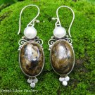 Sterling Silver Leopard Skin Jasper & Pearl Gemstone Earrings ER-846