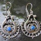Silver Indian Style Earrings Bali Lapis lazuli Earrings ER-923-DG