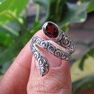 Silver Antique Look Snake Ring//Scale Ring//Garnet Ring//Adjustable Ring RI-750-DG