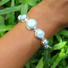 6.5 Inch 925 Silver and Seven Genuine Dominican Larimar Bracelet SBB-529-KT