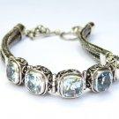 Silver //Genuine Blue Topaz //Tennis Bracelet//Dragon Bone Bracelet SBB-532-DG