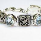Sterling Silver Five Blue Topaz Bali Designer Bracelet SBB-528-KT