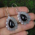 Silver Earrings//Love Heart//Black Onyx Gem//Teardrop Shape//Bali Earrings ER-933-NY