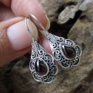 925 Silver Pearshape Garnet Cabochon Bali Earrings ER-928-NY