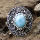 Silver Ring//Larimar//Bali Ring//Carribean Gemstone//Gemstone Ring RI-743-KT