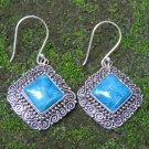 Sterling Silver Square Turquoise Bali Earrings ER-933-PS