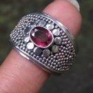 Heavy Sterling Silver Garnet Ring//Gemstone//Beaded Ring RI-757-PS