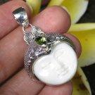 Name: 925 Silver Pendant//Moon Face// Ox Bone Pendant//Peridot Stone//Goddess Pendant GDP-1413-PS