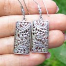 Silver Rectangle Filigree Earrings, Bali Earrings, Dangle Style, Ornate, SE-307-KA