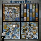 Steampunk Blue Digital Scrapbook Kit