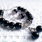 Handmade black agate bracelet and earrings silver plated spacers 21 cm