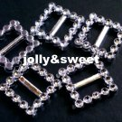 100 pieces Square Ribbon Slider Buckle Silver Color Approximately 20mm