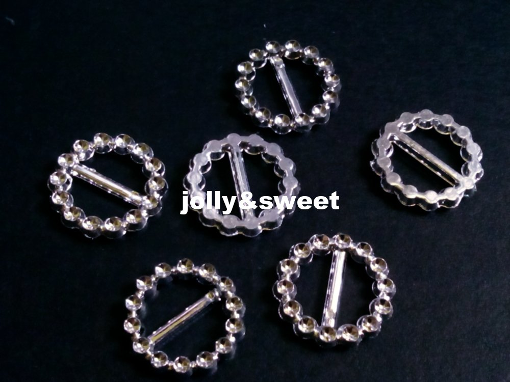 20 pieces 23mm Round Ribbon Buckles Sliders Silver Color
