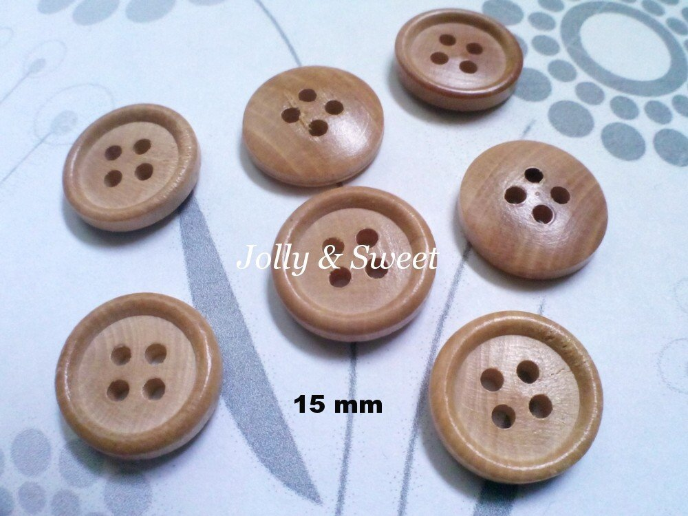 "50 pcs Wood Button 15mm 3/5"" 4 holes Sewing scrap booking DIY Craft embellishment"