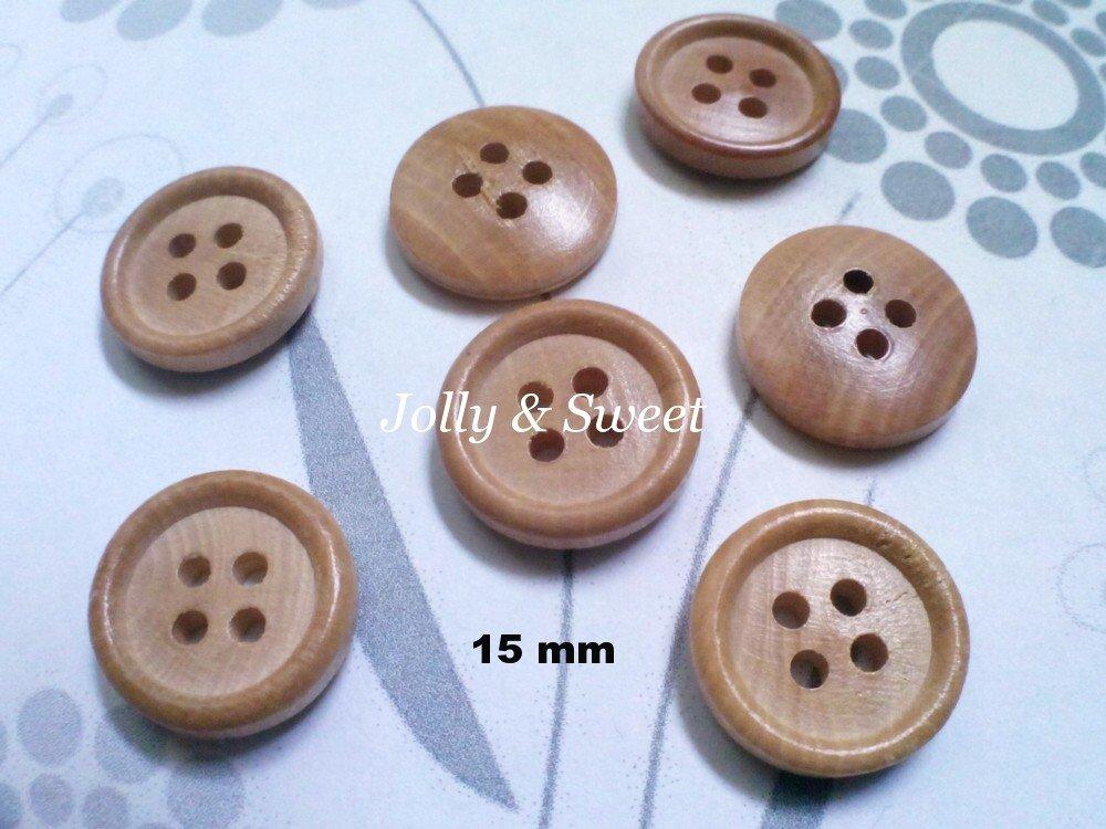 "100 pcs Wood Button 15mm 3/5"" 4 holes Sewing scrap booking DIY Craft embellishment"