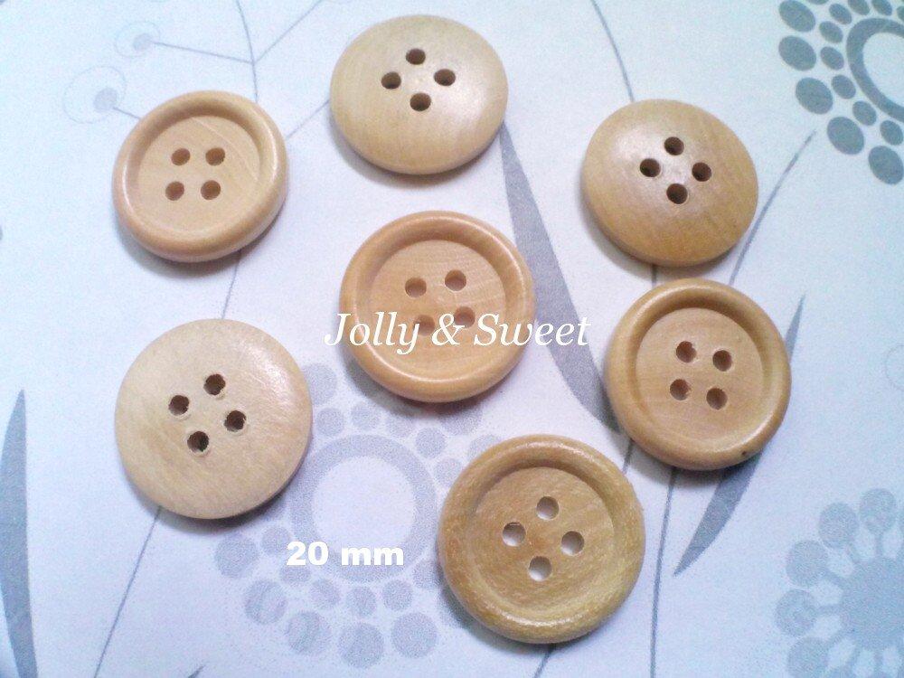 "12 pcs Wood Button 20mm 4/5"" 4 holes Sewing scrap booking DIY Craft embellishment"