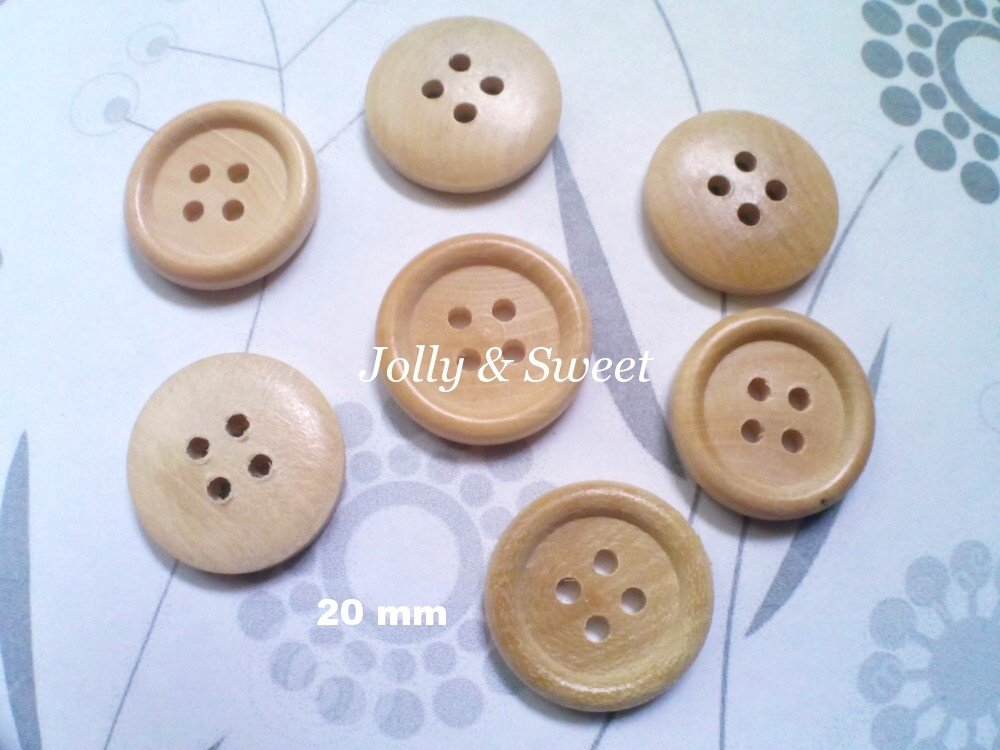 "50 pcs Wood Button 20mm 4/5"" 4 holes Sewing scrap booking DIY Craft embellishment"