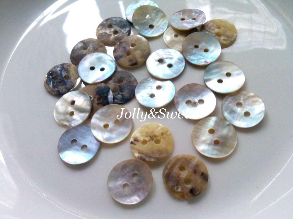 "200 pcs Akoya shell buttons 13mm or 1/2"" 2 holes sewing scrapbooking DIY art craft embellishment"