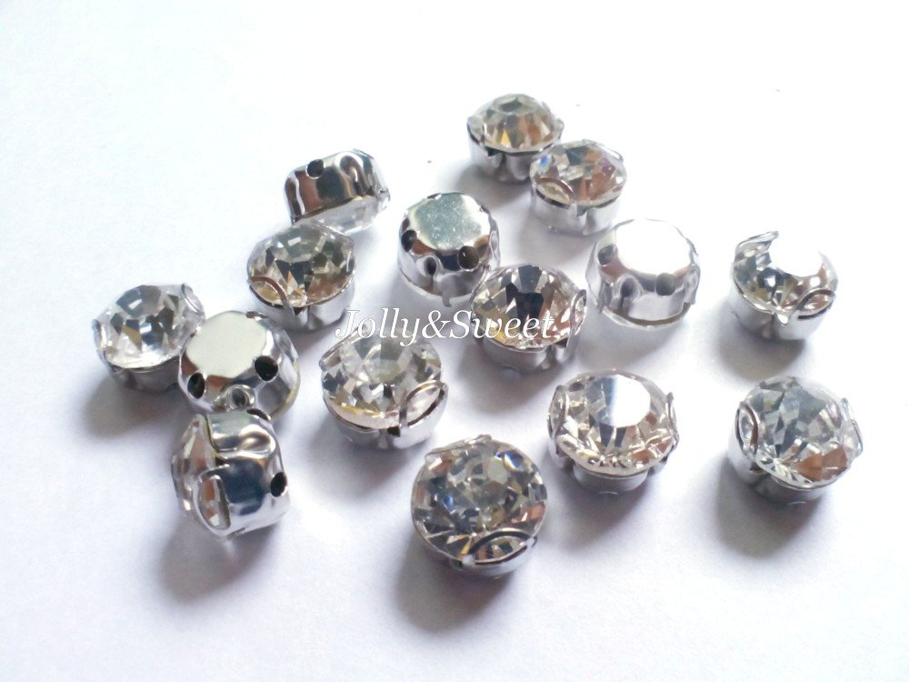 sew on rhinestones clear glass crystals 40 pcs beads 6mm 2D claws diamante faceted embellishment