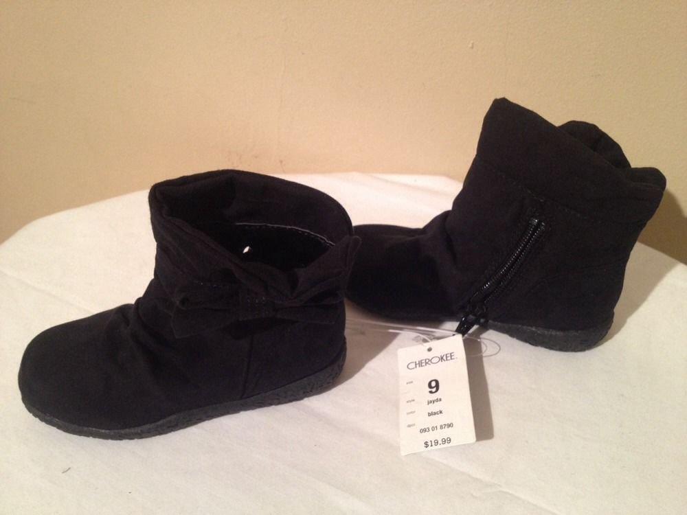 NEW Stylish Toddler Girl's Cherokee Black Jayda Boots, Size 9