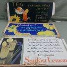 """3 Vintage Sunkist California Lemons Cardboard Signs  - 11"""" x 21"""""""