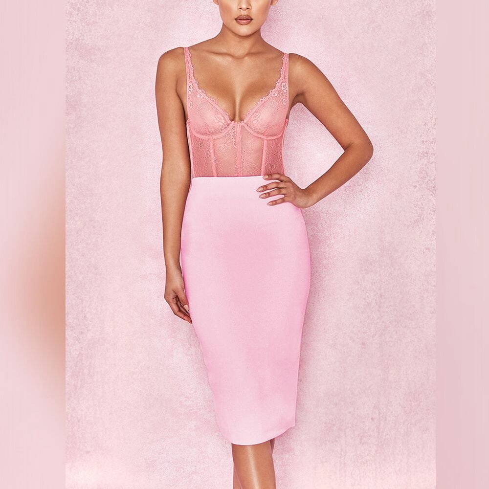 2020 Summer High Quality Women Sexy Pink Bandage Skirt (IROCKBAG.COM)