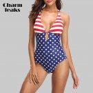 Charmleaks Women One Piece Swimwear American Flag Swimwear (IROCKBAGS.COM)