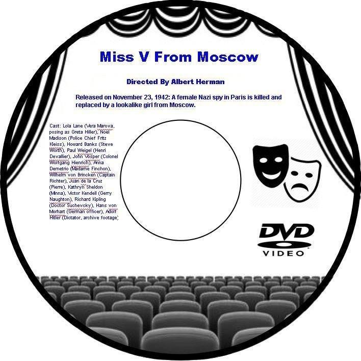 Miss V From Moscow 1942 DVD Film WWII Spy Thriller Albert Herman Lola Lane Noel