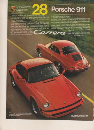 ORIGINAL 1984 VINTAGE MAGAZINE Print ADVERTISEMENT for the PORSCHE 911 Carrera Sports Car!