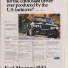 Vintage Print Ad 1983 Ford Mustang SVO