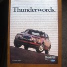1985 Ford Thunderbird Thunderwords Have You Driven A Ford Lately Magazine Ad