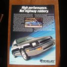 1987 Shelby CSX Dodge Shadow - Classic Vintage Advertisement Ad