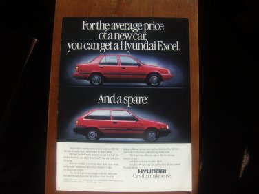 1987 Hyundai Excel - Spare - Classic Vintage Advertisement Ad