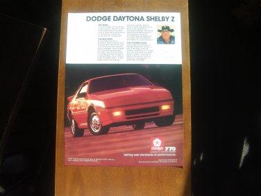 1987 Dodge Daytona Shelby Z red - Classic Car Advertisement Print Ad