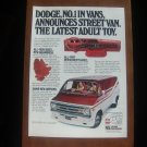 1978 DODGE STREET VAN NUMBER 1 IN VANS DODGE MAGAZINE AD