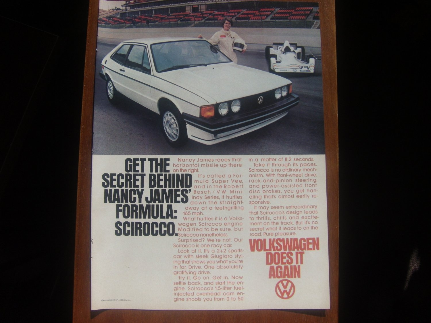 1978 vw volkswagen scirocco nancy james race print ad. Black Bedroom Furniture Sets. Home Design Ideas