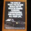 1987 Volvo 780 Bertone Classic Vintage Advertisement Ad