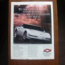 CHEVROLET CORVETTE LT1 . ORIGINAL MAGAZINE ADVERTISEMENT 1991.