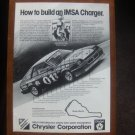 "1984 ""How to build an IMSA Charger"" Dodge Shelby Charger Ad"