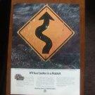1983 VW Volkswagen Rabbit Car Curves Road Sign Vintage Print Ad