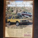 1983 GMC Jimmy, S-15 Jimmy Truck Ad - Ways to Go