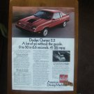 1982 DODGE CHARGER 2.2 CLASSIC VINTAGE ADVERTISEMENT