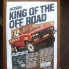 Vintage 1982 DATSUN KING CAB 4 x 4 PICK UP MOTOR CAR Advertisement