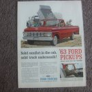 '63 Ford Pickups~Ford Trucks~Red~Magazine/Print ad