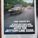1980 VOLVO GT Magazine/Print Ad ~silver ~on the road ~Vintage Car Advertisement b/w