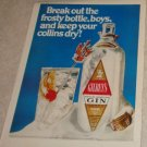 Gilbey's Gin Break out the Frosty Bottle boys 1969 magazine ad