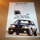 1984 Ford Mustang SVO original magazine advertisement